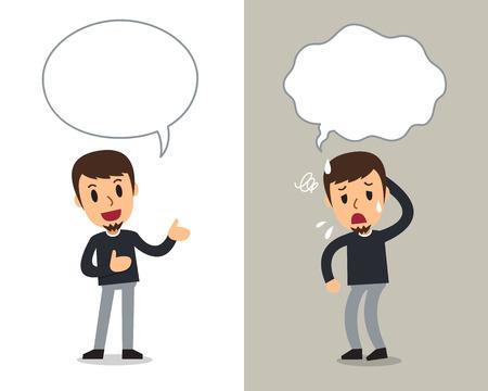 Cartoon-Vektor-Charakter-Mann, der verschiedene Emotionen mit Sprechblasen ausdrückt