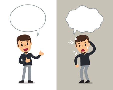 Cartoon vector character man expressing different emotions with speech bubbles