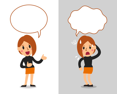 Vector cartoon character cute woman expressing different emotions with speech bubbles Ilustração