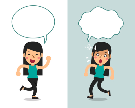 Cartoon vector character a woman expressing different emotions with speech bubbles