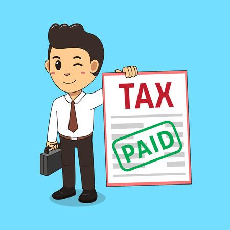 Cartoon a businessman paid tax
