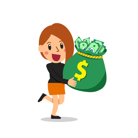 Vector cartoon businesswoman carrying big money bag 写真素材 - 112353852