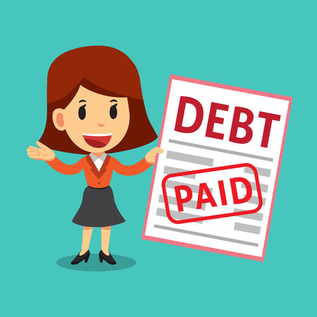 Vector cartoon businesswoman paid his debt