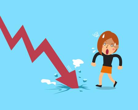 Vector cartoon businesswoman with red arrow Stock Illustratie