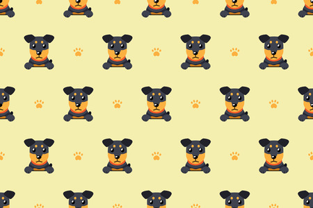 Vector cartoon character german hunting terrier dog seamless pattern Stockfoto - 112353916