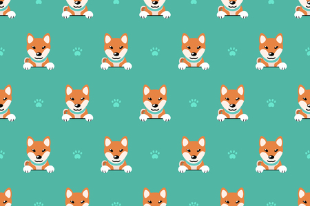 Vector cartoon character shiba inu dog seamless pattern