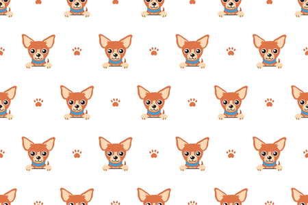 Vector cartoon character brown chihuahua dog seamless pattern
