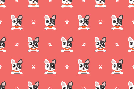 Vector cartoon character french bulldog seamless pattern