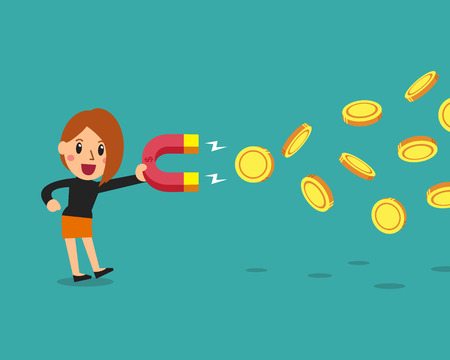 Cartoon business concept businesswoman using a magnet to attracts money