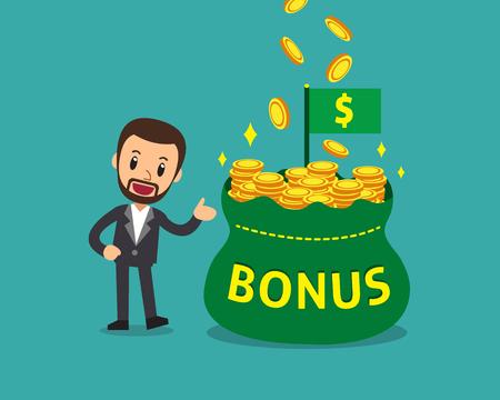 Cartoon businessman with big bonus money bag