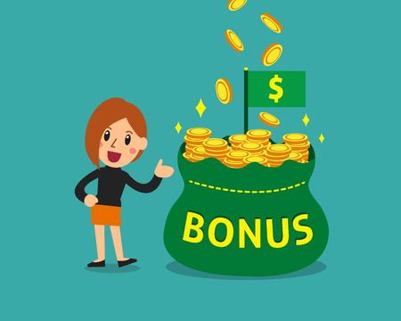 Cartoon businesswoman with big bonus money bag