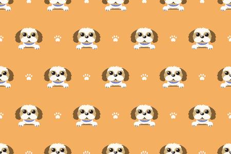 Vector cartoon character shih tzu dog seamless pattern Illustration