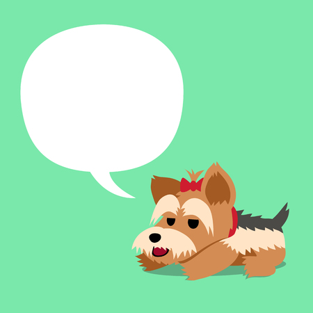 Vector cartoon character yorkshire terrier dog and white speech bubble Illustration