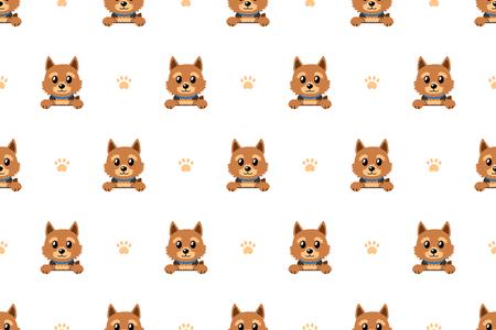 Vector cartoon character norwich terrier dog seamless pattern