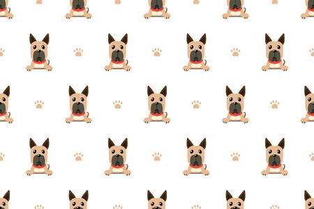 Vector cartoon character great dane dog seamless pattern