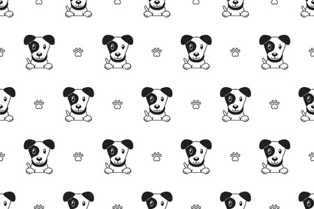 Vector cartoon character jack russell terrier dog seamless pattern for design. Illustration