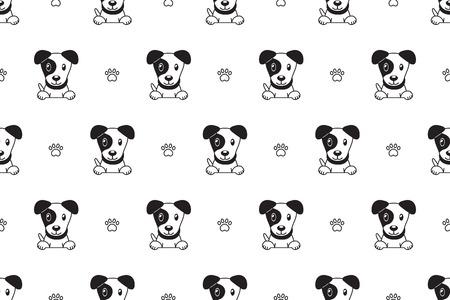 Vector cartoon character jack russell terrier dog seamless pattern for design. Illusztráció