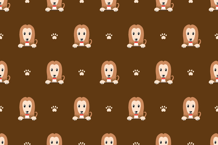 Cartoon vector character cute Afghan hound dog seamless pattern for design. Vector Illustration