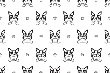 Vector cartoon character boston terrier dog seamless pattern for design. 矢量图像