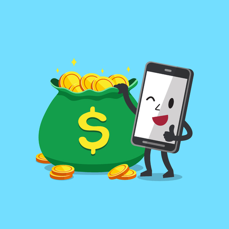 Cartoon character smartphone with money bag for design.