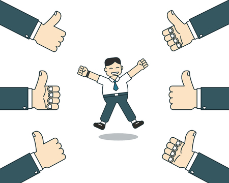 Cartoon happy businessman with many thumbs up hands for design.