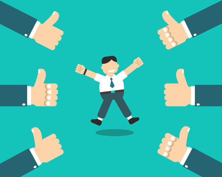 Vector cartoon happy businessman with many thumbs up hands for design. Illustration