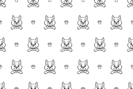 Vector cartoon character norwich terrier dog seamless pattern for design. Illustration