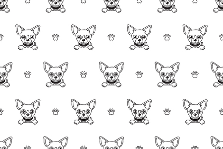 Vector cartoon character chihuahua dog seamless pattern for design. 向量圖像
