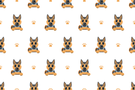 Vector cartoon character german shepherd dog seamless pattern background for design.