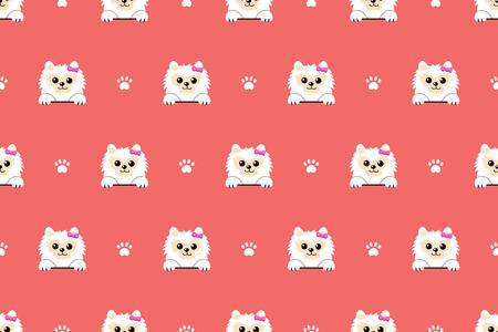 Vector cartoon character white pomeranian dog seamless pattern background for design. Standard-Bild - 116892794