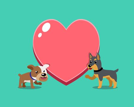 Cartoon character bulldog and doberman dog with big heart for design. Standard-Bild - 117063643