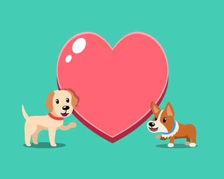 Cartoon character cute corgi dog and labrador retriever dog with big heart for design. Standard-Bild - 117063645