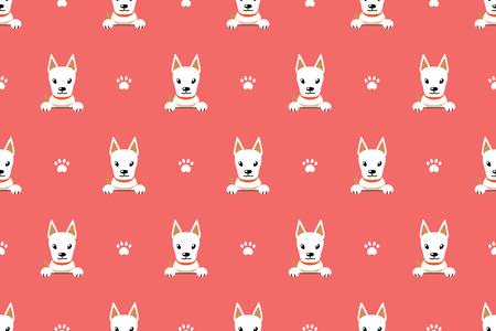 Cartoon character cute white dog seamless pattern background for design. Standard-Bild - 117063647