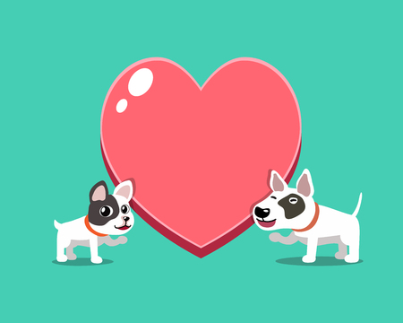 Cartoon character french bulldog and bull terrier dog with big heart for design.