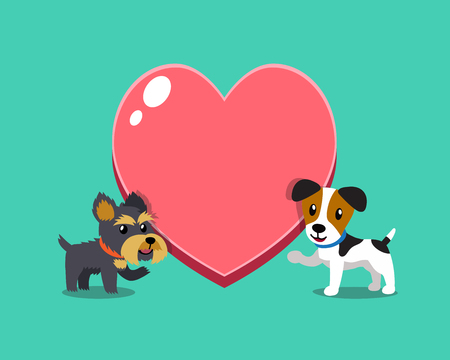Cartoon character jack russell terrier dog and yorkshire terrier dog with big heart for design. Standard-Bild - 117063652