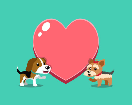 Cartoon character beagle dog and yorkshire terrier dog with big heart for design. Standard-Bild - 117063651