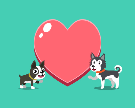 Cartoon character boston terrier dog and siberian husky dog with big heart for design. Standard-Bild - 117063653