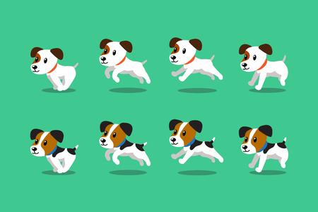 Vector de dibujos animados carácter jack russell terrier perros corriendo paso para el diseño. Ilustración de vector