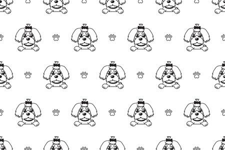 Vector cartoon character maltese dog seamless pattern for design. Standard-Bild - 117376741