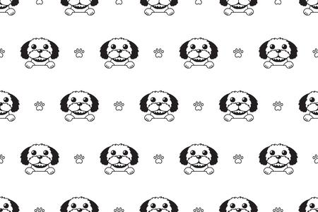 Vector cartoon character shih tzu dog seamless pattern for design. Standard-Bild - 117376742