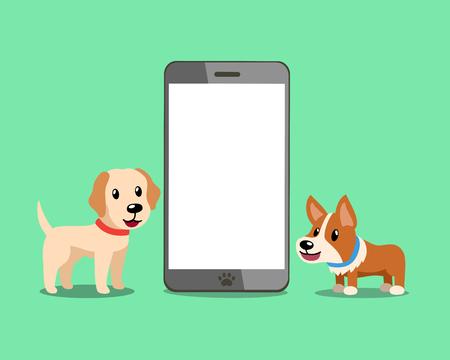 Cartoon character cute corgi dog and labrador retriever dog with smartphone for design. Standard-Bild - 117376743