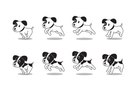 Cartoon Charakter Jack Russell Terrier Hunde laufen Schritt für Design. Vektorgrafik