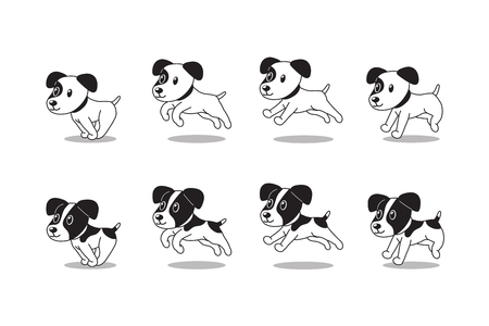 Cartoon character jack russell terrier dogs running step for design. Illustration