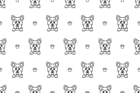Cartoon vector character yorkshire terrier dog seamless pattern for design. Standard-Bild - 117376748