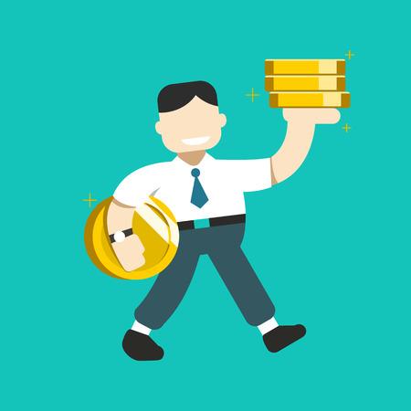 Cartoon business concept a businessman with big coin stack for design. Standard-Bild - 117647446