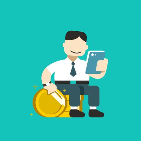 Cartoon business concept businessman using smartphone with big coin stack for design. Standard-Bild - 117647447