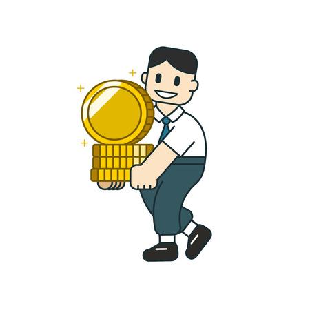Vector cartoon business concept businessman with big coin stack for design. Standard-Bild - 117647449