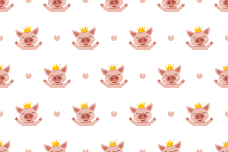 Vector cartoon character cute pig seamless pattern background for design. Standard-Bild - 117647452
