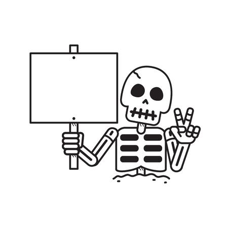Cartoon vector skeleton with sign for design. Standard-Bild - 117647455