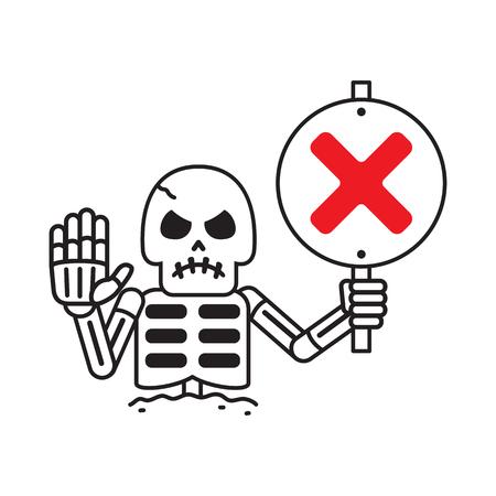 Cartoon vector skeleton with wrong sign for design. Standard-Bild - 117647456